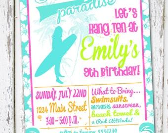 Surfer Girl - Birthday Invitation