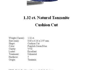 TANZANITE - 1.32 Carats of Gorgeous Greenish Blue Tanzanite in a Striking Cushion Cut...