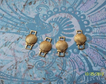 4 Vintage Brass Shell Connector Stamping     ....   B - 3