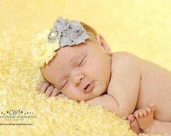 Baby Headband, Infant Headband, Newborn Headband, Light Yellow and Gray Headband, Toddler Headband, Shabby Chic Headband Yellow and Gray