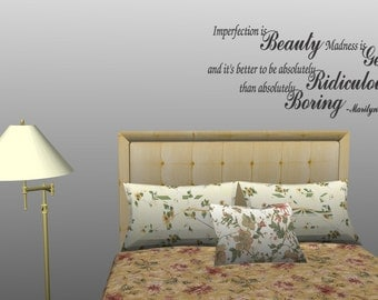 Imperfection Is Beauty Marilyn Monroe Wall Quote Decal Home Decor (50)