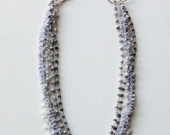 Multi Color Denim Convertible Statement Gemstone Necklace in Silver, Quartz, Iolite, Labradorite, Moonstone Quatrefoil Jewelry - KTownesend