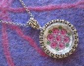 Multiple Stones Pendant, Filigree Jewelry, Hand Painted Gemstones, Antique Silver, Pendant Necklace