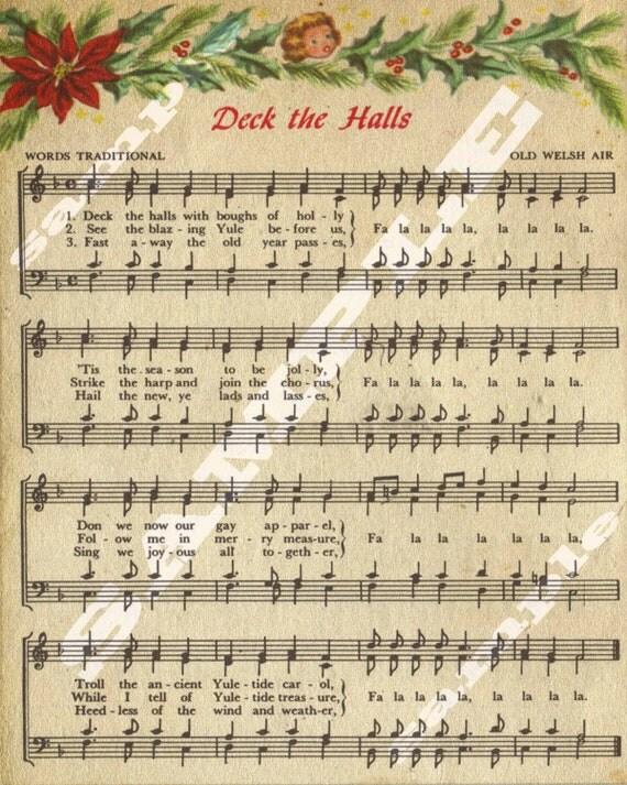 Items similar to Deck The Halls Christmas Holiday Religious Vintage Sheet Music Printable ...