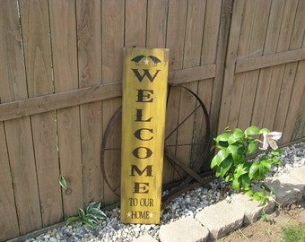Wood WELCOME sign, hand painted, vertical, with crows and stars, with a Distressed Finish