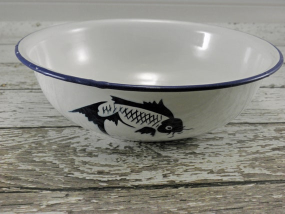 Vintage Enamelware Bowl Koi fish Cobalt blue and white