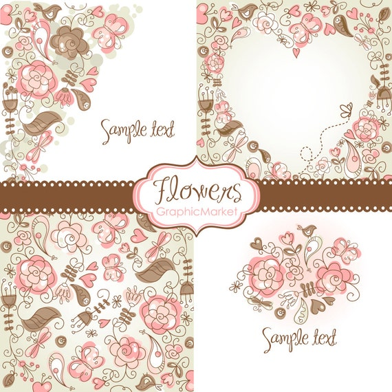 4 Floral template designs - Clipart and Digital paper for ...