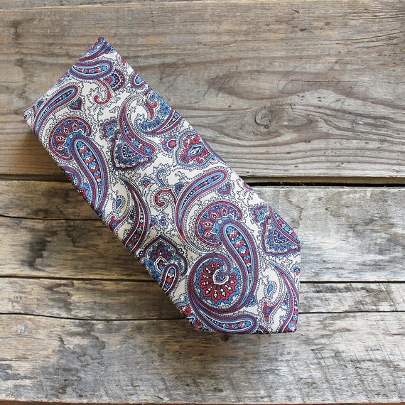 Vintage Men's Tie - Paisley tan, blue, and red