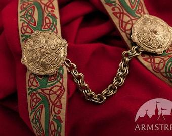 20% DISCOUNT! Round Birka IX-XI Century Original Brass Cloak Clasp Fibula Casting (pair) with Chain