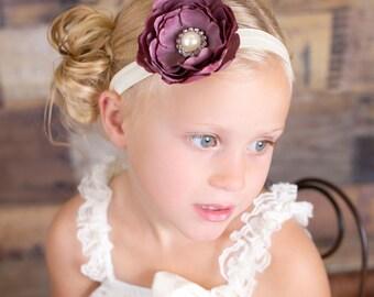 Plum Silk Flower on Cream Headband - Baby Girl Headband - Toddler Headband - Adult Headband