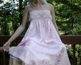Pink Silk Lingerie Gown in Pink Floral Rose Jacquard Silk Charmeuse with Pink Stretch Lace Gown