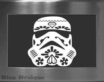 Sugar Skull / Stormtrooper Mashup vinyl decal - Car decal - MacBook decal - Sugar Skull decal - Star Wars decal - Stormtrooper decal