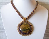 SALE - Beadwork Bead Embroidery Pendant Necklace with Iron Tiger's Eye - MOUNTAIN CHARM - brown - red - gold