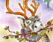 Holiday Greeting Card, Reindeer, Watercolor, Snow, Winter, Christmas