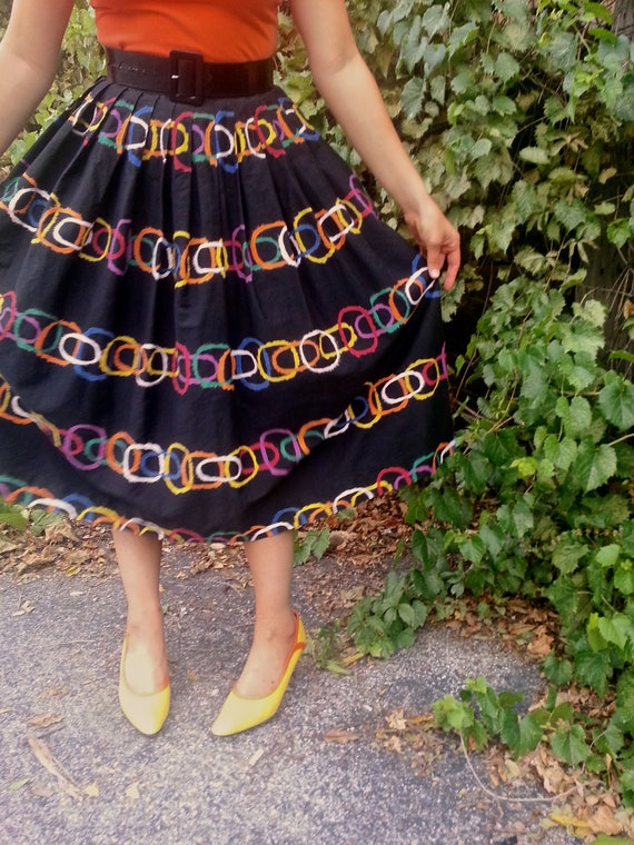 Vintage 1950s Joyce of Chicago Geometric Mod Skirt