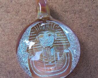 Lampworked Dichroic Image King Tut Pendant