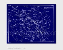 Customizable Vintage Constellation Star Map, Choose the Colors, Retro Wall Art Unframed Sky Star Map in Custom Colors, Blue and White