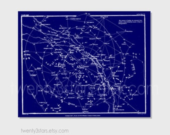 Customizable Vintage Constellation Star Map, Choose Any Colors, Wall Art Print or Canvas, Sky Star Map in Custom Colors, Blue and White