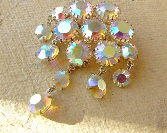 Vintage Czech Brooch with iridescent Bohemian crystal.