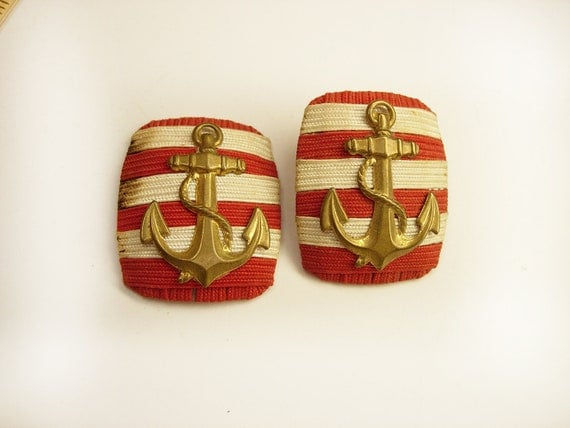 Two Vintage Military Navy Coast Guard Epaulets Shoulder Boards