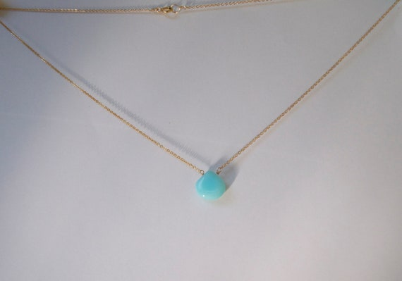 Gold, Peruvian Opal Teardrop Necklace, turquoise, 14kt, teal, teardrop, aqua blue, turq, silver, smooth
