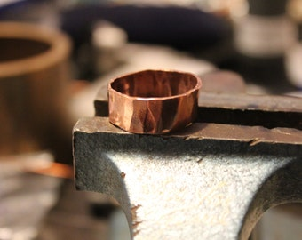 Handmade Hammered Copper Ring , High shine Very Polished