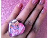 OOAK Heart Shaped Glass Pink Vintage Barbie Ring
