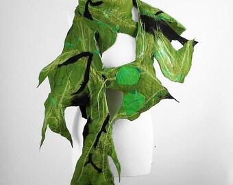 Nunofelt Scarf Felted Scarf MANTIS Scarf Long Green Wrap Scarves Mantis Felt Nunofelt Nuno felt Silk Silkyfelted Fairy Eco shawl Fiber Art
