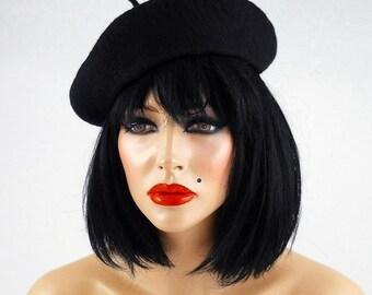 Felted Hat Black Beret Toque Jazz Fascinator Black hat Art hat  Felt Nunofelt Nuno felt Silk Eco Fiber Art