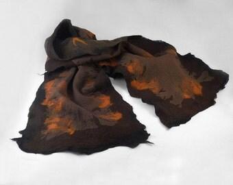 Brown Scarf Felted Scarf Nunofelt scarf Felt Wrap Wool Silk Scarves Felt Nuno felt Silk Eco coffee multicolor shawl Fiber Art