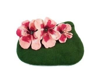 Felted Clutch Art Purse ALICE IN WONDERLAND Bag handbag wearable art felt Nuno felt green fuschia pink fairy floral fantasy Fiber Art boho
