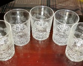 Vintage set of 5 juice glasses, clear glass with etched flower and leaf design and textured geometric designon bottom half