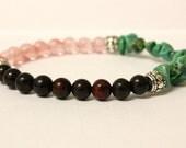 Handmade Stackable Stretch Bracelet Turquoise Howlite, Rose Quartz, Jasper and Silver - Boho Soho