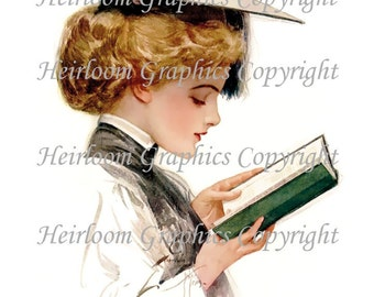 Harrison Fisher - Victorian Woman Digital Download - Vintage Harrison Fisher - Victorian Woman