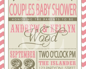 ON SALE! Couples Baby Shower Invitation
