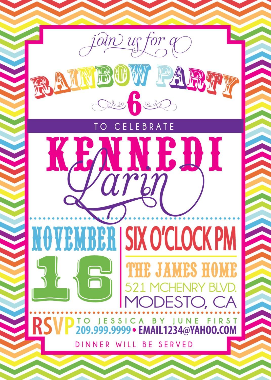 rainbow party invitation  etsy, Party invitations