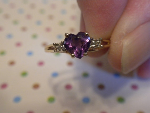 10k Purple Amethyst & Diamond Ring Valentine Sale Size 7