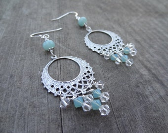 Silver Green Blue Amazonite Crystal Bead handmade dangle earrings jewelry Sterling Silver beads circle