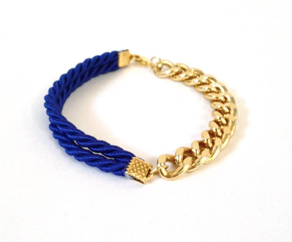 WCPY: Mini Rope Bracelet - COBALT BLUE - gold chain - arm party - stack with your plastic lace helloberry bracelets - silk rope bracelet