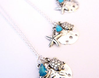 Silver Beach Charm Necklace with Blue Opal Vintage Glass, Bridesmaids Necklace, Beach Wedding