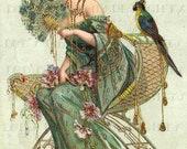 Rare Gorgeous Art Nouveau Lady VINTAGE Digital ILLUSTRATION. Digital DOWNLOAD