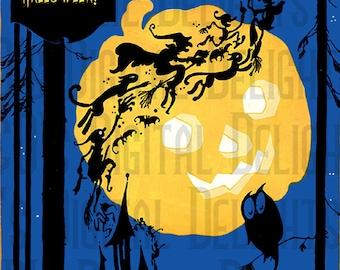 Large RARE VINTAGE Halloween Digital Download. Sprites, Imps, Goblins Flying. Vintage Illustration