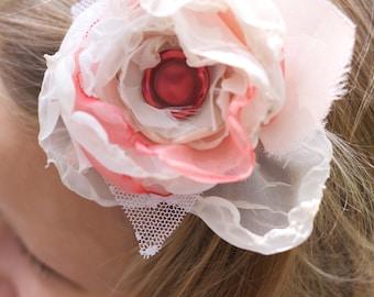wedding flower hair piece coral cream pink ivory lace shabby chic photo prop hair clip fabric flower girl kid couture newborn headband boho