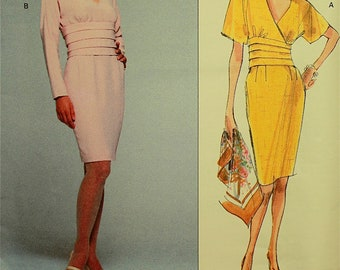Dress by Nipon Boutique  -1990's - Vogue American Designer Pattern 2674 Uncut   Sizes 6-8-10  Bust  30.5-31.5-32.5""