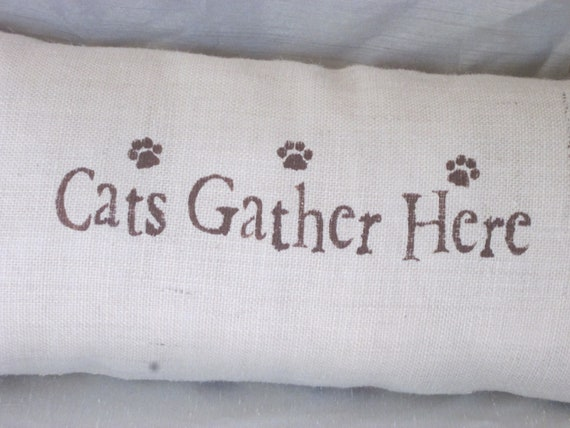 "Hand Stenciled Pillow ""Cats Gather Here"" Cat Lovers Pillow 12"" x  24"" Insert Included"