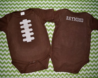 Personalized Football Laces Jersey Appliqued Onesie