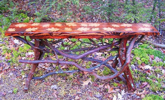 Rustic Handmade Console Entry Hall sofa console Table with leaf design Log Cabin Furniture by J. Wade Free Shipping
