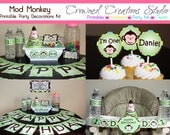 Mod Monkey Boy's Birthday Party Package - Printable Kit - Banner, Cupcake Toppers, Party Hat, Water Bottle Labels, Favour Tags, etc.