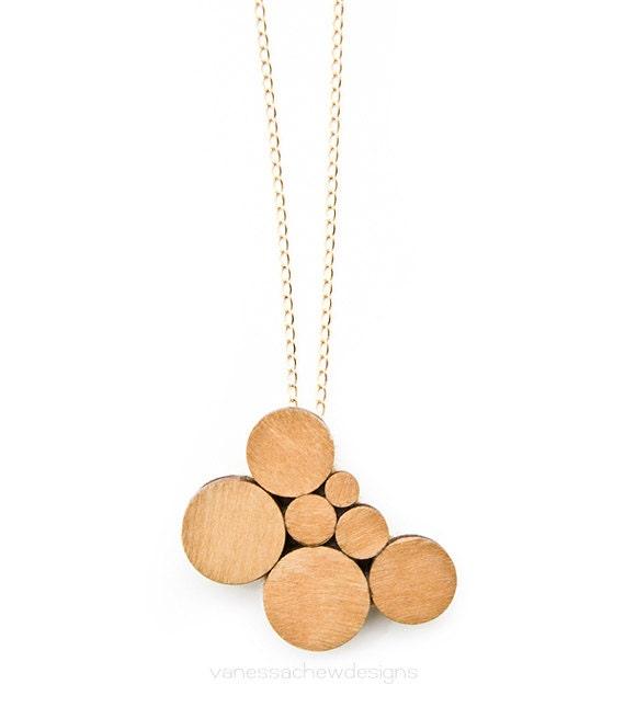wooden circles pendant necklace