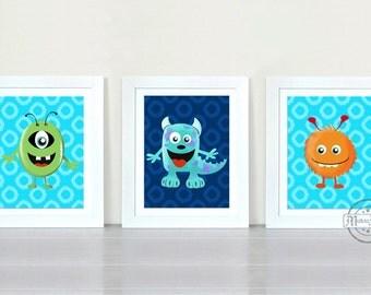 Monsters - Boys Room Decor - Nursery Decor - Three Piece Wall Art - 8x10 Nursery Art - Monsters Inc Wall Art for Boys Room